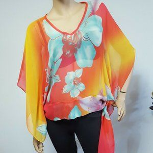🍂Homemade Multicolor Poncho Style Blouse Top…